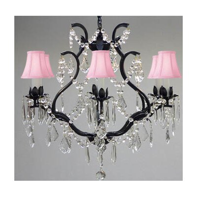 Clemence 6-Light Bell Shade Chain Crystal Chandelier Shade Color: Pink
