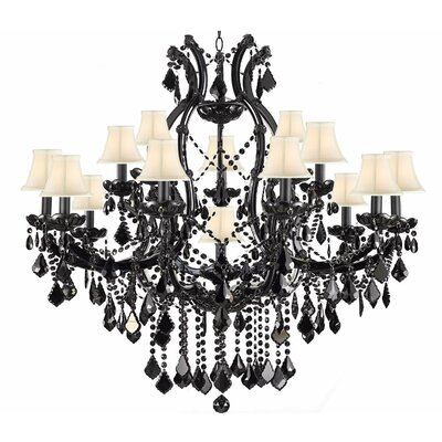 Keenum 16-Light Crystal Chandelier Shade Color: White