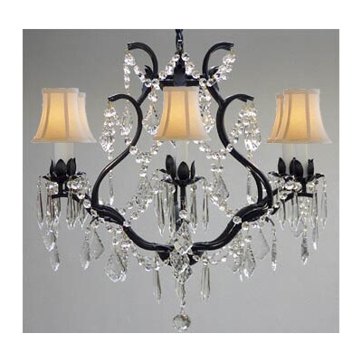 Clemence 6-Light Bell Shade Chain Crystal Chandelier Shade Color: White