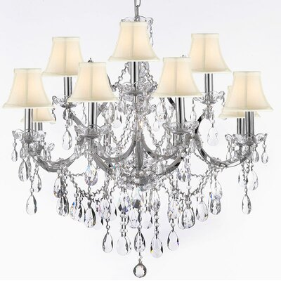 Keenum 13-Light Crystal Chandelier Shade Color: White