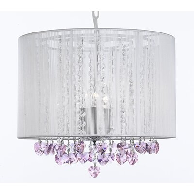 Dacia 3-Light Drum Chandelier with Pink Crystal Hearts Shade Color: White