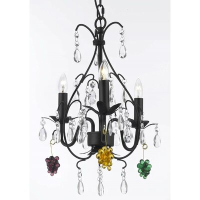 Clemence 3-Light Elegance Crystal Chandelier Crystal Color: Green/Yellow/Purple