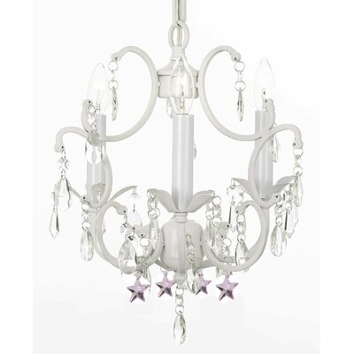 Clemence 3-Light Crystal Chandelier with Pink Stars