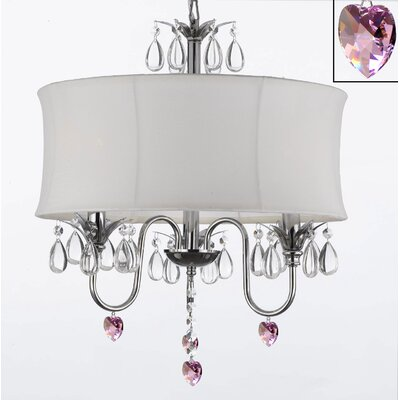 Dacia 3-Light Shaded Chandelier with Pink Crystal Hearts Shade Color: White