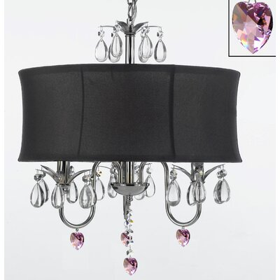 Dacia 3-Light Shaded Chandelier with Pink Crystal Hearts Shade Color: Black