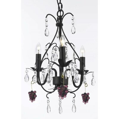 Clemence 3-Light Elegance Crystal Chandelier Crystal Color: Purple