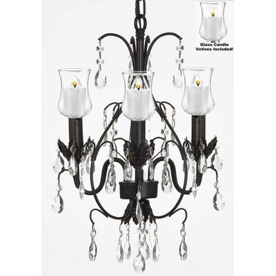 Alvan 3-Light Black Candle-Style Chandelier