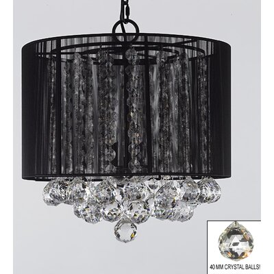 Howton 3-Light Drum Chandelier Shade Color: Black