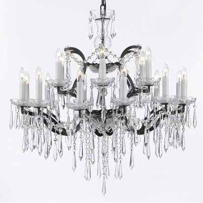 Alvan 18-Light Black Chain Crystal Chandelier