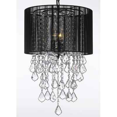 3-Light Drum Chandelier Shade Color: Black