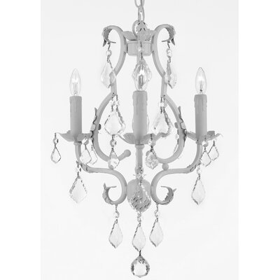 Clemence 3-Light White Crystal Chandelier