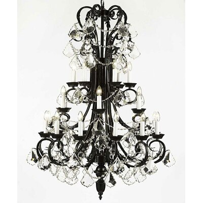Alvan 24-Light Black Crystal Chandelier
