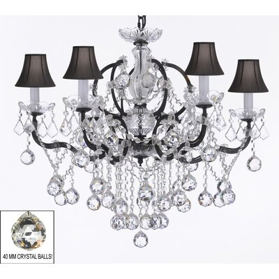 Clemence 6-Light Black Shade Crystal Chandelier