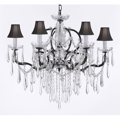 Clemence 6-Light Black 40W Crystal Chandelier