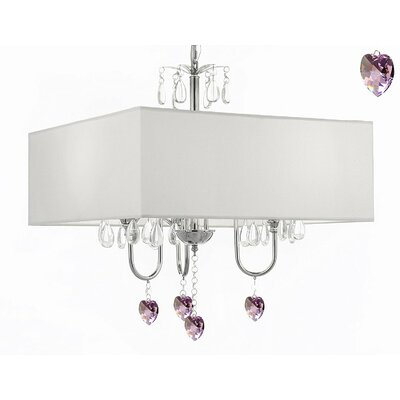 Kincannon 3-Light Shaded Chandelier Shade Color: White
