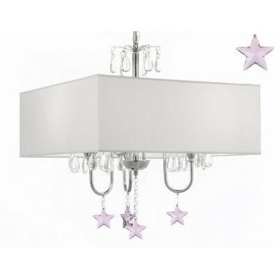 Kincer 3-Light Shaded Chandelier Shade Color: White