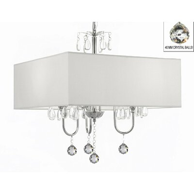 Kinch 3-Light Shaded Chandelier Shade Color: White