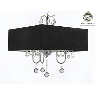 Kinch 3-Light Shaded Chandelier Shade Color: Black