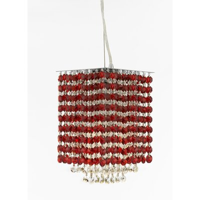 Borrego 1-Light Square Crystal Pendant Crystal: Red