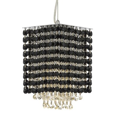 Borrego 1-Light Square Crystal Pendant Crystal: Black