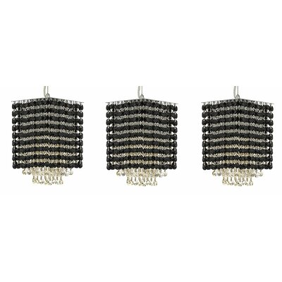Borrego 1-Light Crystal Pendant Crystal: Black