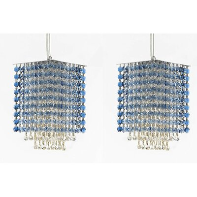 Borrego 1-Light Rectangular Crystal Pendant Crystal: Blue