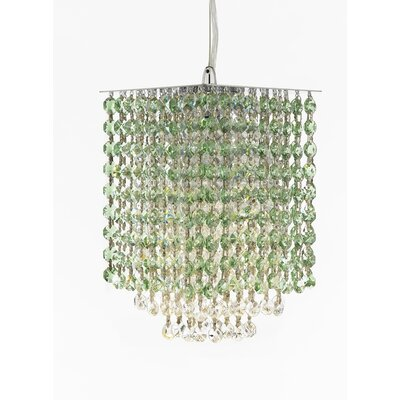 Borrego 1-Light Square Crystal Pendant Crystal: Green