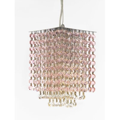Borrego 1-Light Square Crystal Pendant Crystal: Pink