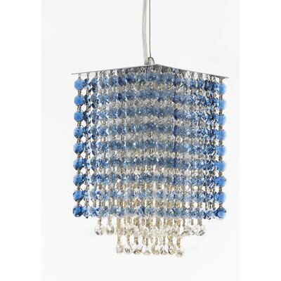 Borrego 1-Light Square Crystal Pendant Crystal: Blue