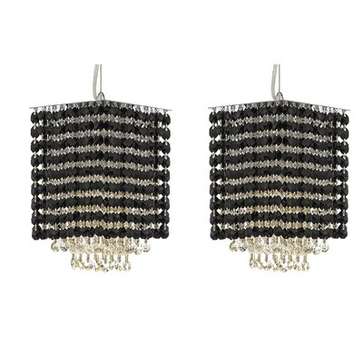 Borrego 1-Light Rectangular Crystal Pendant Crystal: Black