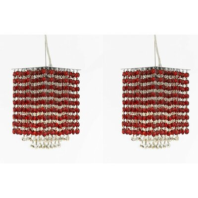 Borrego 1-Light Rectangular Crystal Pendant Crystal: Red