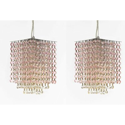 Borrego 1-Light Rectangular Crystal Pendant Crystal: Pink