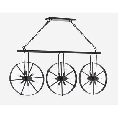 Cossette Industrial Style Spoke Wheel 18-Light Geometric Pendant