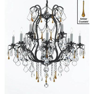 Clemence 12-Light Black Chain Crystal Chandelier Finish: Amber