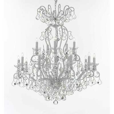 Wrought Iron 16-Light Crystal Chandelier