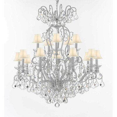 Wrought Iron 16-Light Crystal Chandelier Shade Color: White