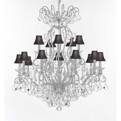 Wrought Iron 16-Light Crystal Chandelier Shade Color: Black