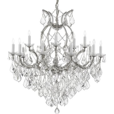 Brooksland 16-Light Crystal Chandelier Color: Silver