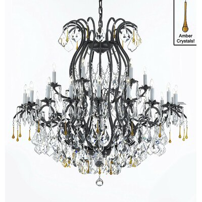 Clemence 24-Light Crystal Chandelier Crystal Color: Amber