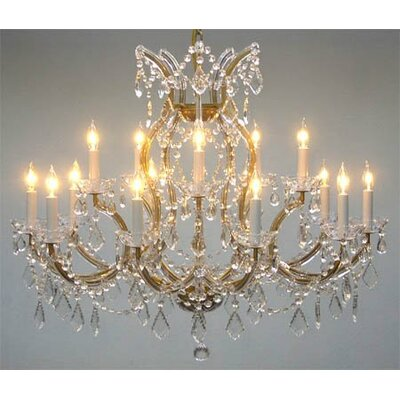 Alvarado Trimmed 16-Light Crystal Chandelier Color: Gold