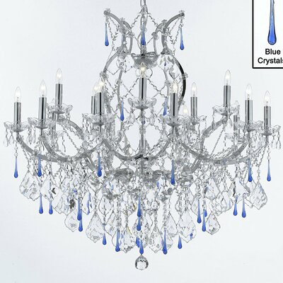 Maria Theresa 16-Lighting Crystal Chandelier Color: Blue
