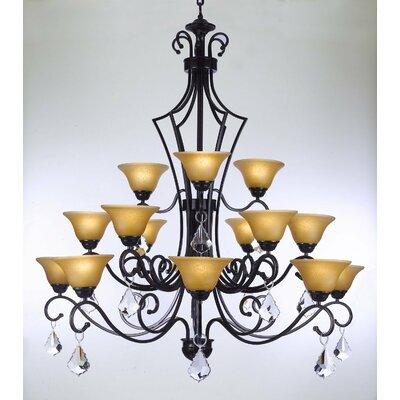 Alvan Wrought Iron 15-Light Shaded Chandelier