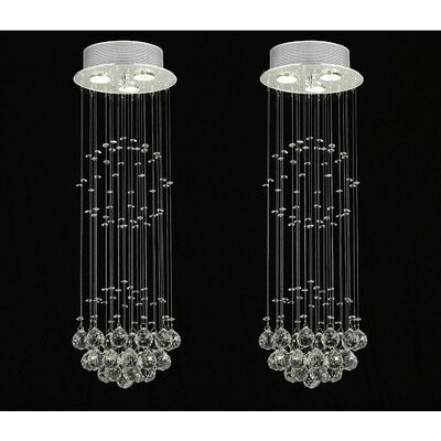 Antoninus Empress Crystal 3-Light Flush Mount Chandeliers Lighting with Crystal Ball