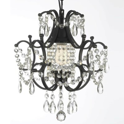 Alvan Wrought Iron 1-Light Crystal Chandelier