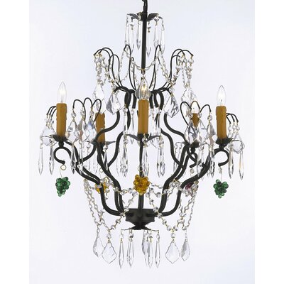 Alvan 5-Light Black Candle-Style Chandelier