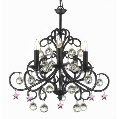 Clemence 5-Light Wrought Iron Base Candle-Style Chandelier