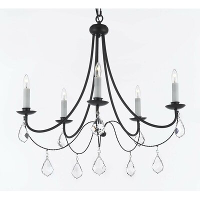 Clemence 5-Light Black Candle-Style Chandelier