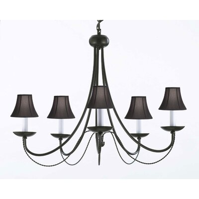 Faxon 5-Light Black Candle-Style Chandelier