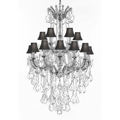 Alvarado 18-Light Bell Shade Crystal Chandelier Finish: Silver, Shade Color: Black