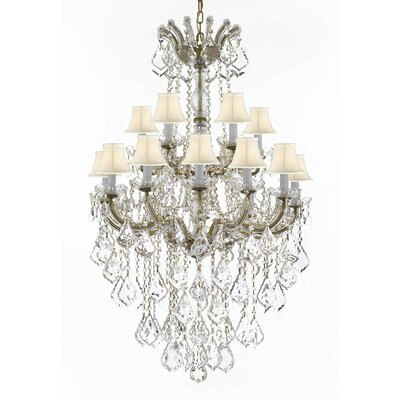 Alvarado 18-Light Bell Fabric Shade Crystal Chandelier Finish: Gold, Shade Color: White